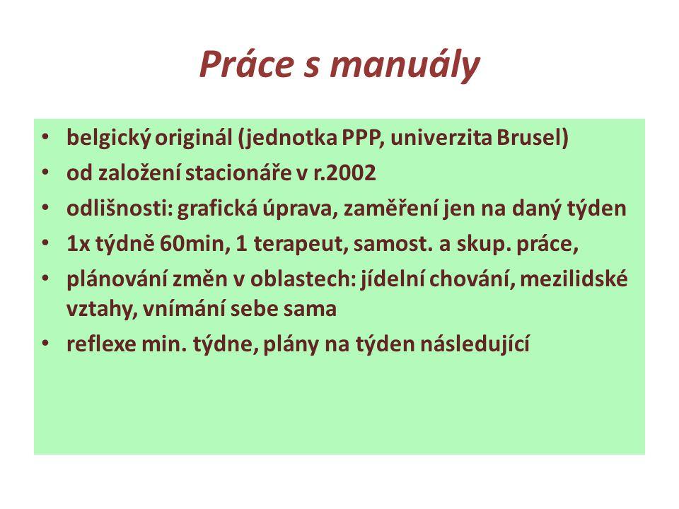 Práce s manuály • belgický originál (jednotka PPP, univerzita Brusel) • od založení stacionáře v r.2002 • odlišnosti: grafická úprava, zaměření jen na