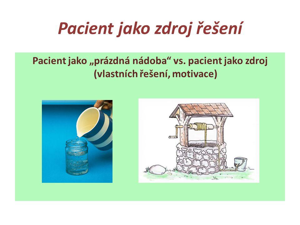 """Pacient jako zdroj řešení Pacient jako """"prázdná nádoba"""" vs. pacient jako zdroj (vlastních řešení, motivace)"""