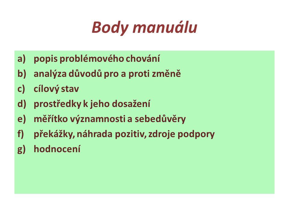 Body manuálu a)popis problémového chování b)analýza důvodů pro a proti změně c)cílový stav d)prostředky k jeho dosažení e)měřítko významnosti a sebedů