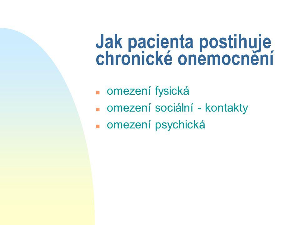 Jak pacienta postihuje chronické onemocnění n omezení fysická n omezení sociální - kontakty n omezení psychická