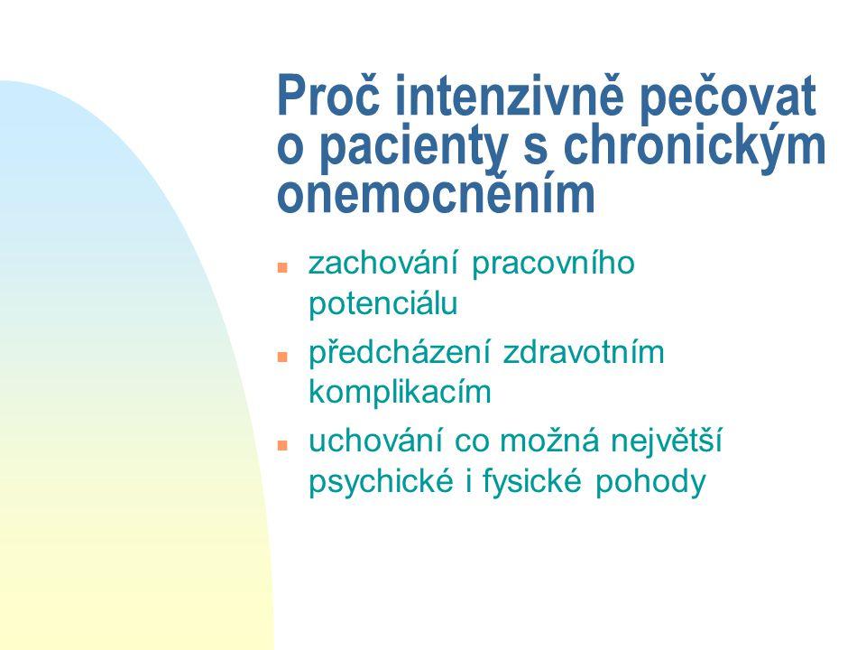 Proč intenzivně pečovat o pacienty s chronickým onemocněním n zachování pracovního potenciálu n předcházení zdravotním komplikacím n uchování co možná