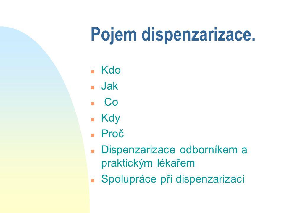 Pojem dispenzarizace. n Kdo n Jak n Co n Kdy n Proč n Dispenzarizace odborníkem a praktickým lékařem n Spolupráce při dispenzarizaci