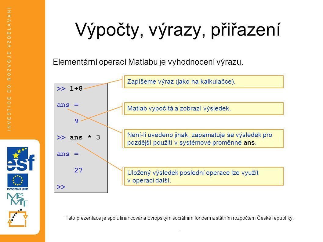 Výpočty, výrazy, přiřazení Elementární operací matlabu je vyhodnocení zadaného výrazu (na pravé straně) a přiřazení výsledné hodnoty do proměnné na levé straně: Tato prezentace je spolufinancována Evropským sociálním fondem a státním rozpočtem České republiky.