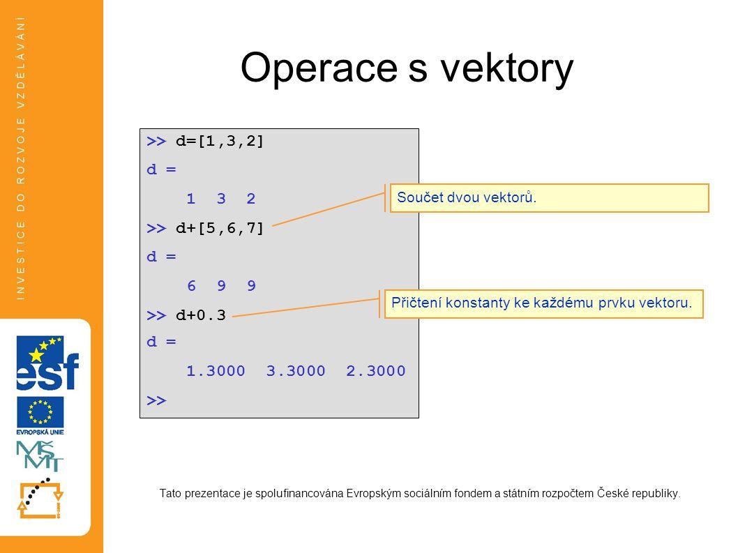 Operace s vektory Tato prezentace je spolufinancována Evropským sociálním fondem a státním rozpočtem České republiky. >> d=[1,3,2] d = 1 3 2 >> d+[5,6