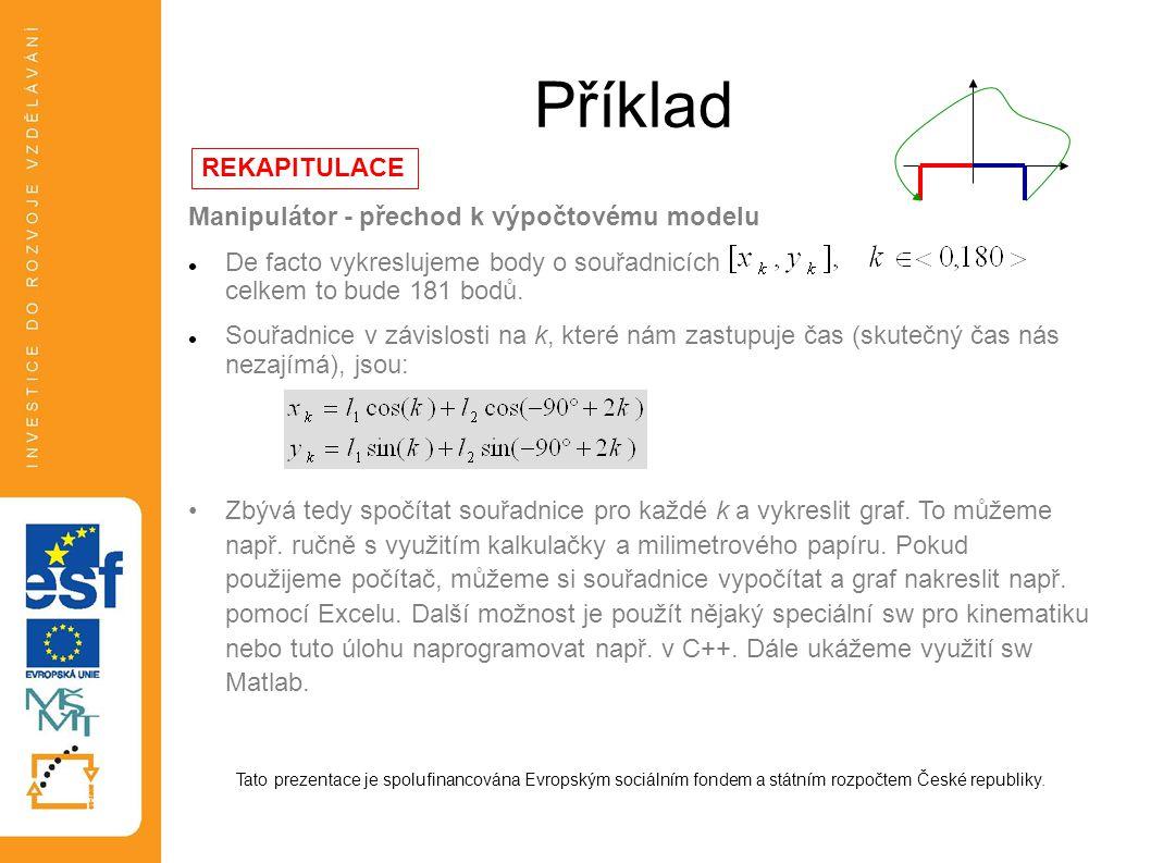 Příklad Manipulátor - přechod k výpočtovému modelu  De facto vykreslujeme body o souřadnicích celkem to bude 181 bodů.  Souřadnice v závislosti na k