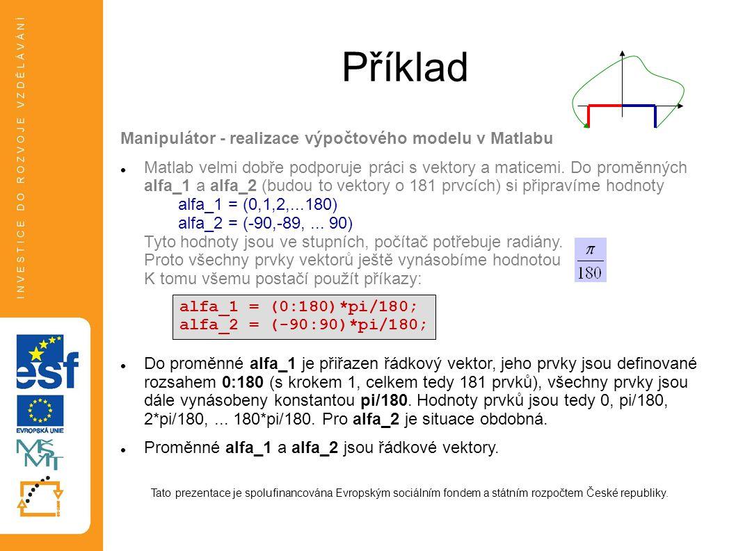 Příklad Manipulátor - realizace výpočtového modelu v Matlabu  Matlab velmi dobře podporuje práci s vektory a maticemi. Do proměnných alfa_1 a alfa_2