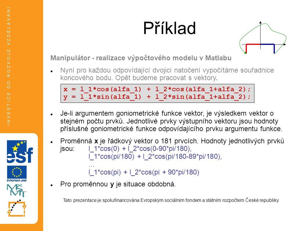Příklad Manipulátor - realizace výpočtového modelu v Matlabu  Nyní pro každou odpovídající dvojici natočení vypočítáme souřadnice koncového bodu. Opě
