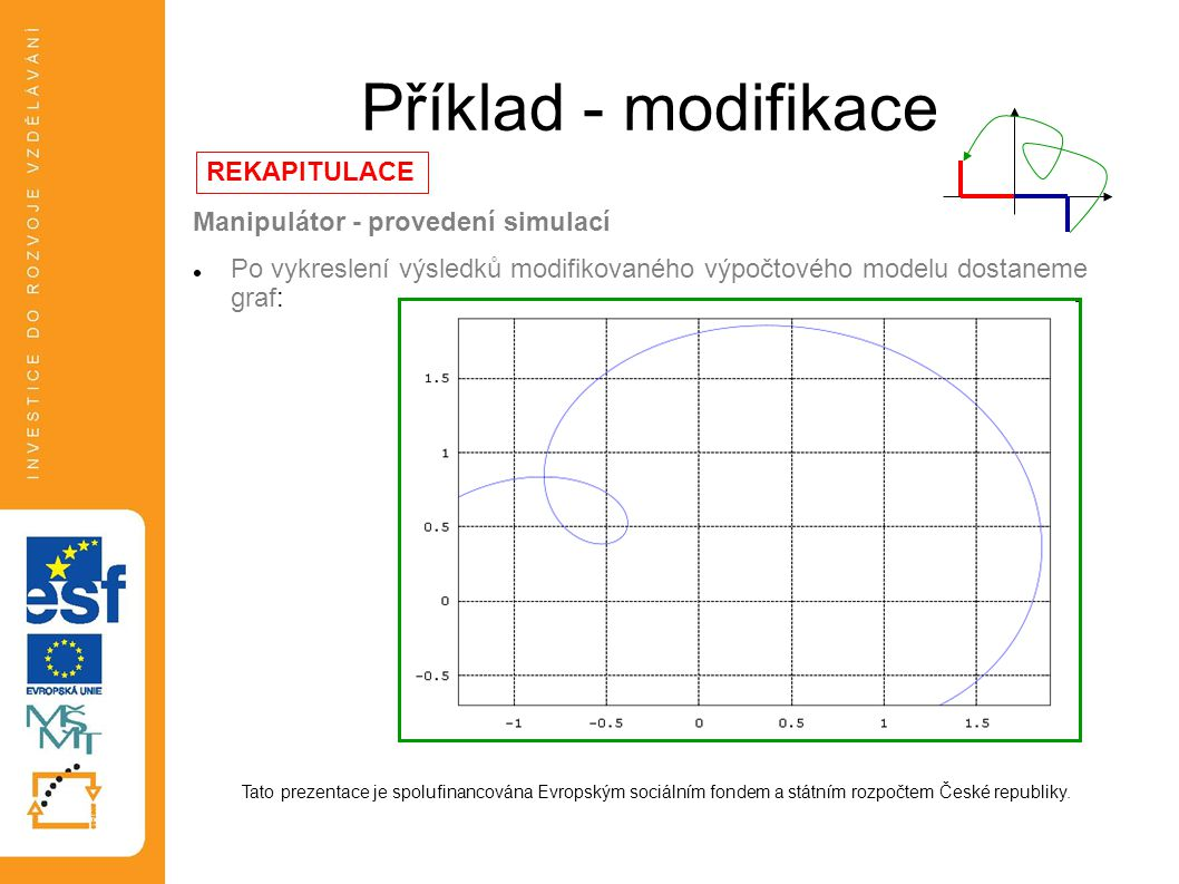 Příklad - modifikace Manipulátor - provedení simulací  Po vykreslení výsledků modifikovaného výpočtového modelu dostaneme graf: Tato prezentace je sp