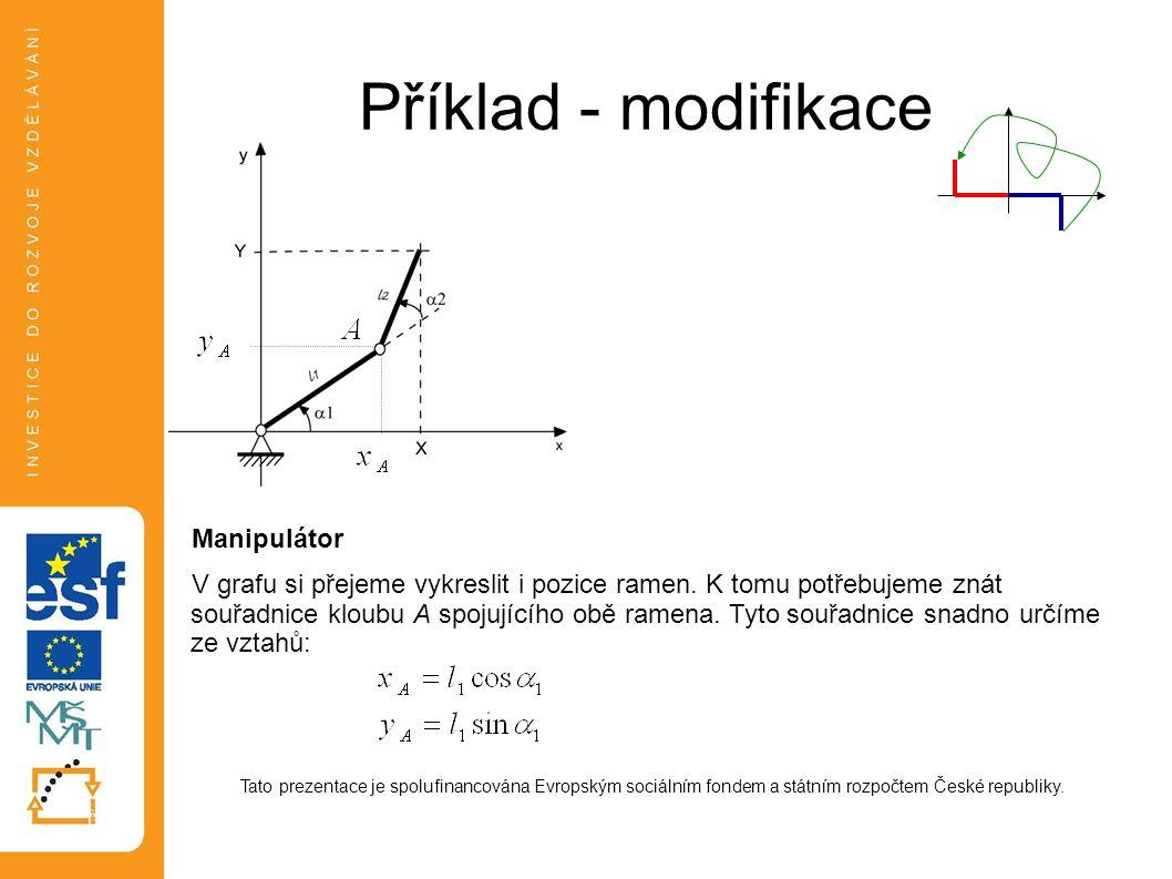 Příklad - modifikace Manipulátor V grafu si přejeme vykreslit i pozice ramen. K tomu potřebujeme znát souřadnice kloubu A spojujícího obě ramena. Tyto