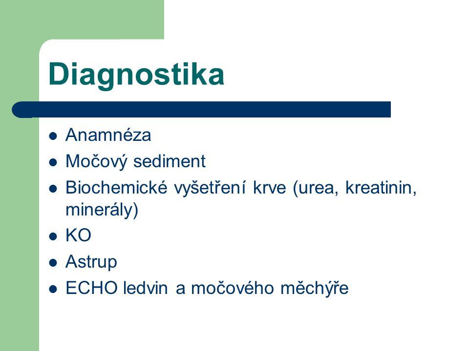 Diagnostika  Anamnéza  Močový sediment  Biochemické vyšetření krve (urea, kreatinin, minerály)  KO  Astrup  ECHO ledvin a močového měchýře