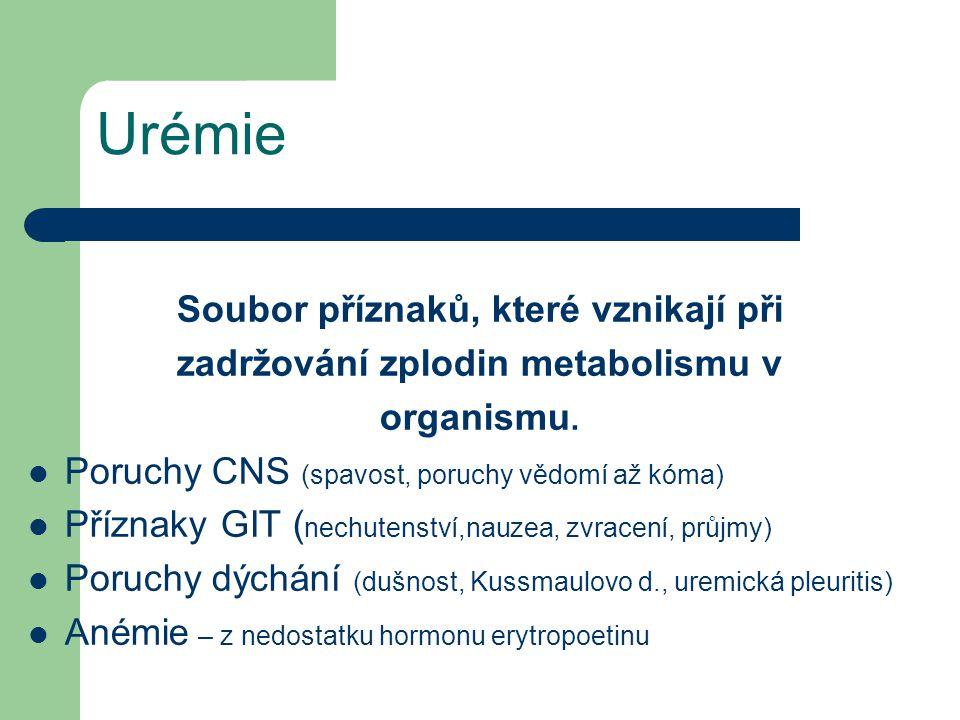 Urémie Soubor příznaků, které vznikají při zadržování zplodin metabolismu v organismu.  Poruchy CNS (spavost, poruchy vědomí až kóma)  Příznaky GIT