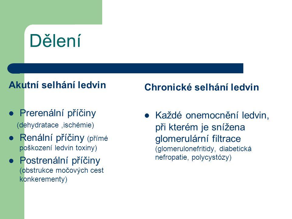 Dělení Akutní selhání ledvin  Prerenální příčiny (dehydratace,ischémie)  Renální příčiny (přímé poškození ledvin toxiny)  Postrenální příčiny (obst