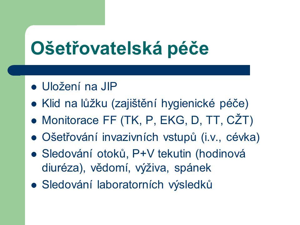 Ošetřovatelská péče  Uložení na JIP  Klid na lůžku (zajištění hygienické péče)  Monitorace FF (TK, P, EKG, D, TT, CŽT)  Ošetřování invazivních vst