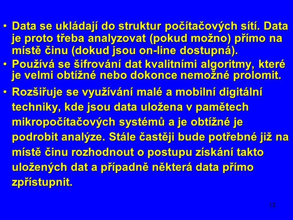 13 •Data se ukládají do struktur počítačových sítí. Data je proto třeba analyzovat (pokud možno) přímo na místě činu (dokud jsou on-line dostupná). •P