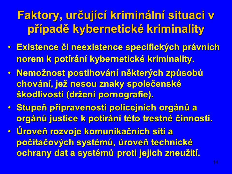 14 Faktory, určující kriminální situaci v případě kybernetické kriminality •Existence či neexistence specifických právních norem k potírání kybernetic