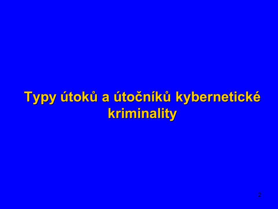 3 Kybernetický neautorizovaný vstup Kybernetický podvod Kybernetické praní špinavých peněz Kybernetický vandalismus Kybernetické pronásledování Kyberterorismus Kybernetickápornografie Kybernetická krádež Kybernetický kontraband Kybernetická pomluva Typy kybernetické kriminality