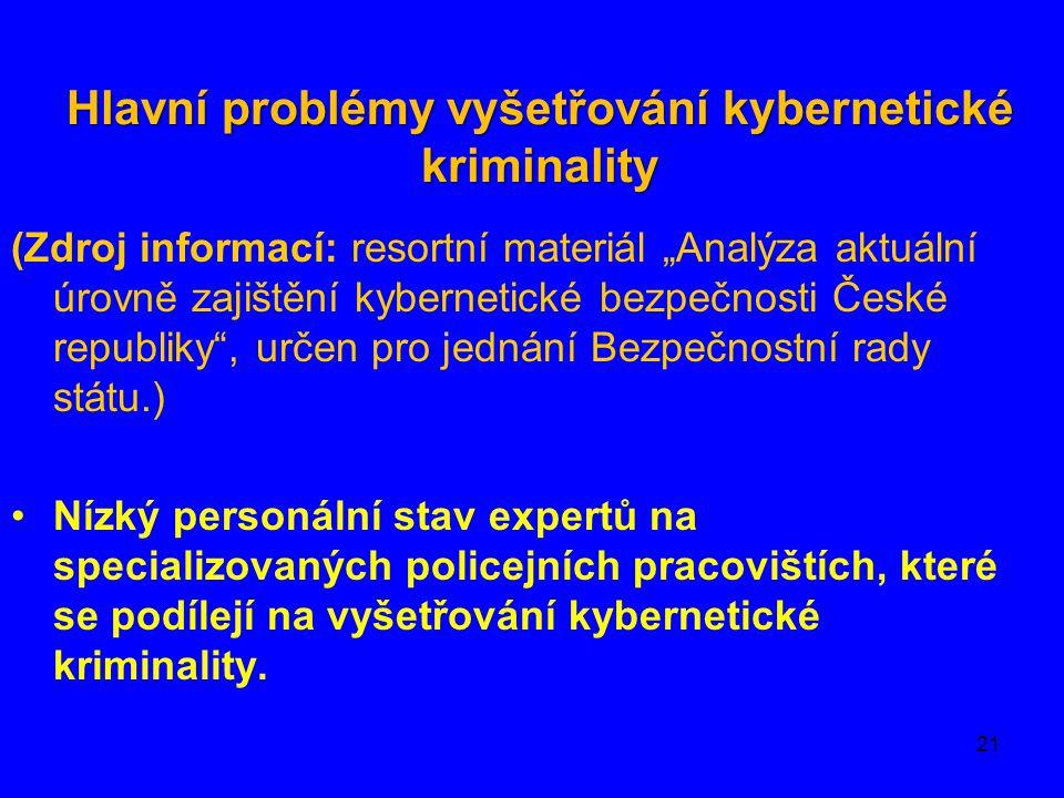 """Hlavní problémy vyšetřování kybernetické kriminality (Zdroj informací: resortní materiál """"Analýza aktuální úrovně zajištění kybernetické bezpečnosti Č"""