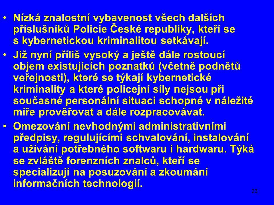 23 •Nízká znalostní vybavenost všech dalších příslušníků Policie České republiky, kteří se s kybernetickou kriminalitou setkávají. •Již nyní příliš vy