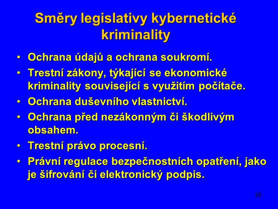 26 Směrylegislativykybernetické kriminality Směry legislativy kybernetické kriminality •Ochrana údajů a ochrana soukromí. •Trestní zákony, týkající se