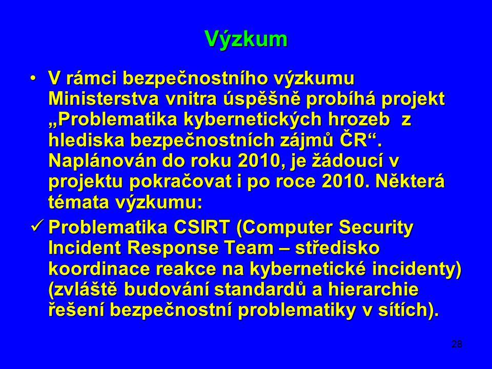 """28 Výzkum •V rámci bezpečnostního výzkumu Ministerstva vnitra úspěšně probíhá projekt """"Problematika kybernetických hrozeb z hlediska bezpečnostních zá"""