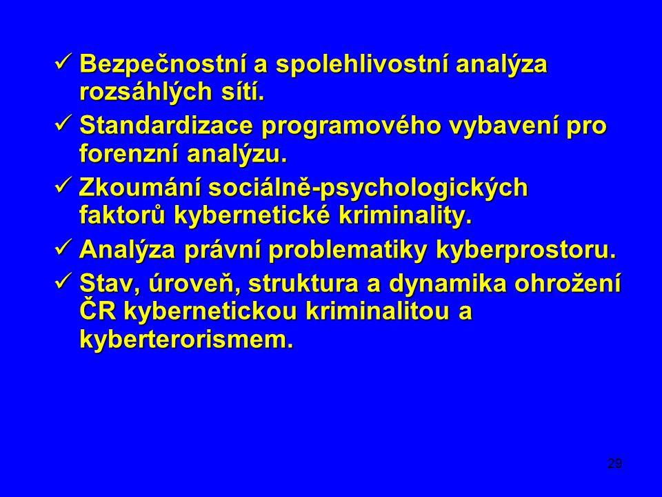 29  Bezpečnostní a spolehlivostní analýza rozsáhlých sítí.  Standardizace programového vybavení pro forenzní analýzu.  Zkoumání sociálně-psychologi
