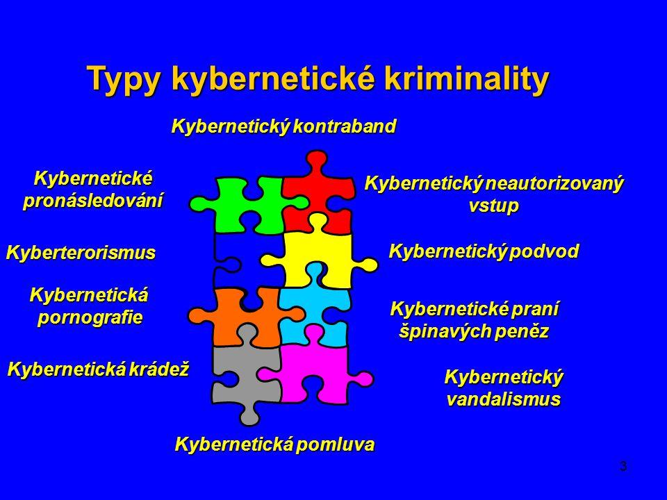 3 Kybernetický neautorizovaný vstup Kybernetický podvod Kybernetické praní špinavých peněz Kybernetický vandalismus Kybernetické pronásledování Kybert