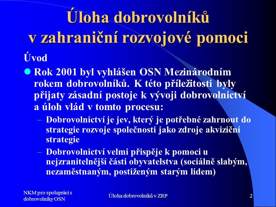 NKM pro spolupráci s dobrovolníky OSN Úloha dobrovolníků v ZRP2 Úloha dobrovolníků v zahraniční rozvojové pomoci Úvod  Rok 2001 byl vyhlášen OSN Mezi