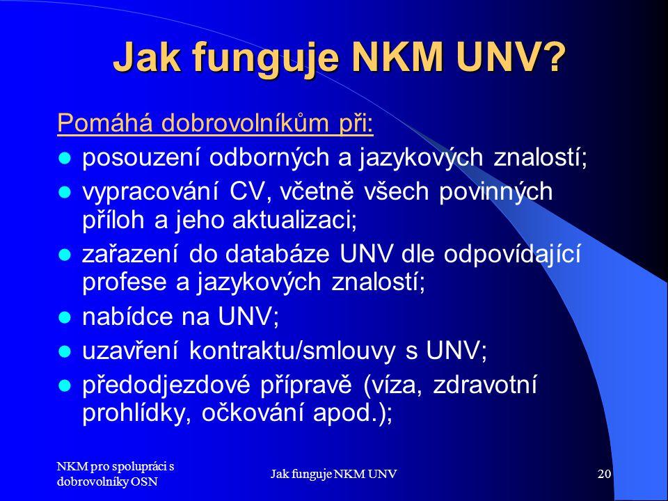 NKM pro spolupráci s dobrovolníky OSN Jak funguje NKM UNV20 Jak funguje NKM UNV? Pomáhá dobrovolníkům při:  posouzení odborných a jazykových znalostí