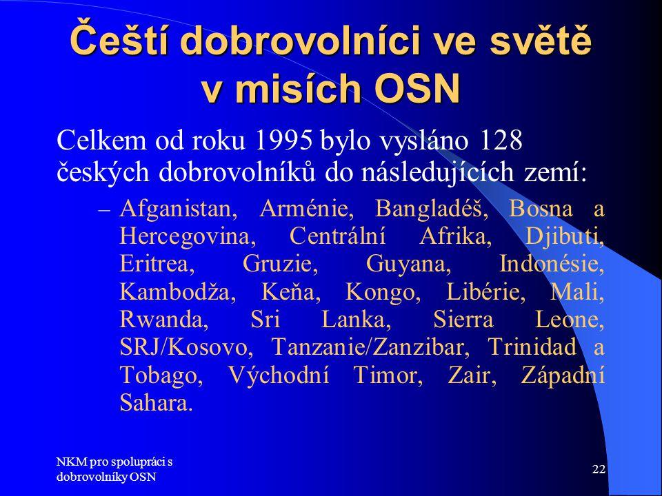 NKM pro spolupráci s dobrovolníky OSN 22 Čeští dobrovolníci ve světě v misích OSN Celkem od roku 1995 bylo vysláno 128 českých dobrovolníků do následu