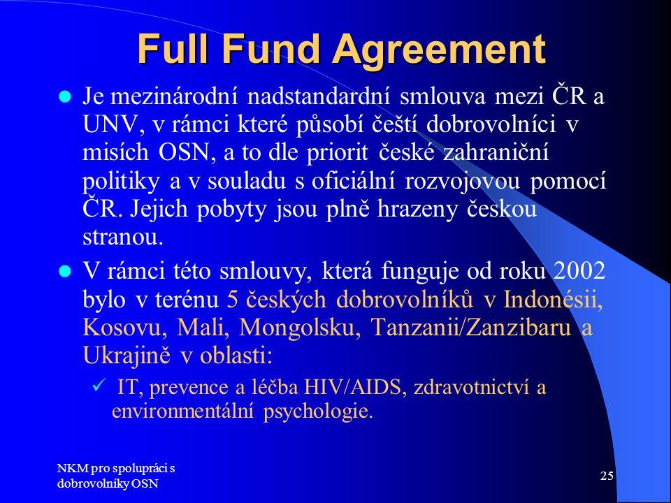 NKM pro spolupráci s dobrovolníky OSN 25 Full Fund Agreement  Je mezinárodní nadstandardní smlouva mezi ČR a UNV, v rámci které působí čeští dobrovolníci v misích OSN, a to dle priorit české zahraniční politiky a v souladu s oficiální rozvojovou pomocí ČR.
