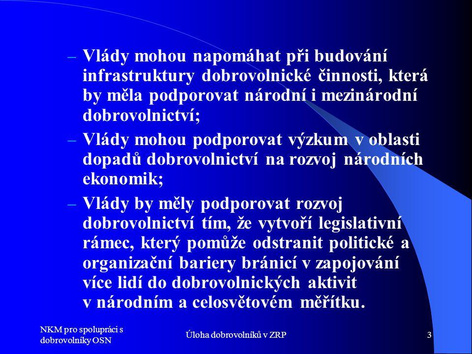 NKM pro spolupráci s dobrovolníky OSN Úloha dobrovolníků v ZRP3 – Vlády mohou napomáhat při budování infrastruktury dobrovolnické činnosti, která by měla podporovat národní i mezinárodní dobrovolnictví; – Vlády mohou podporovat výzkum v oblasti dopadů dobrovolnictví na rozvoj národních ekonomik; – Vlády by měly podporovat rozvoj dobrovolnictví tím, že vytvoří legislativní rámec, který pomůže odstranit politické a organizační bariery bránicí v zapojování více lidí do dobrovolnických aktivit v národním a celosvětovém měřítku.