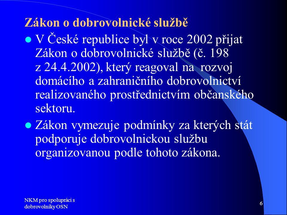 NKM pro spolupráci s dobrovolníky OSN 6 Zákon o dobrovolnické službě  V České republice byl v roce 2002 přijat Zákon o dobrovolnické službě (č.