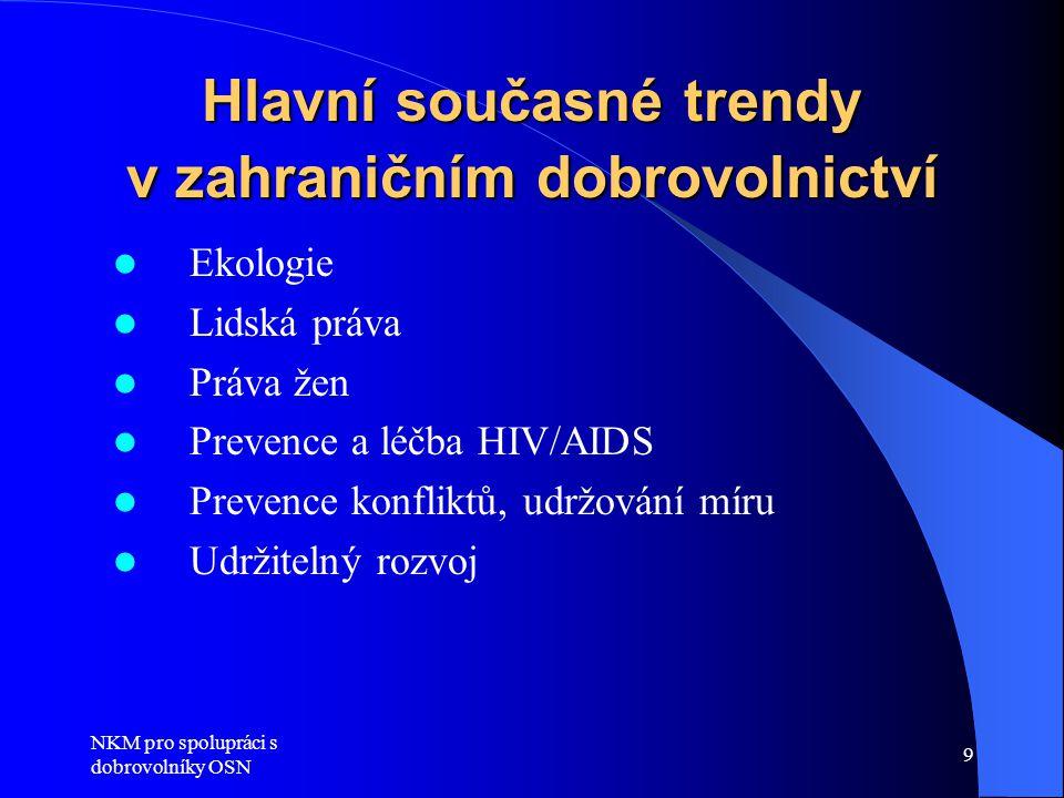 NKM pro spolupráci s dobrovolníky OSN 9 Hlavní současné trendy v zahraničním dobrovolnictví  Ekologie  Lidská práva  Práva žen  Prevence a léčba HIV/AIDS  Prevence konfliktů, udržování míru  Udržitelný rozvoj