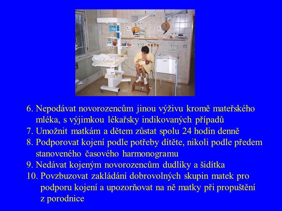 6. Nepodávat novorozencům jinou výživu kromě mateřského mléka, s výjimkou lékařsky indikovaných případů 7. Umožnit matkám a dětem zůstat spolu 24 hodi