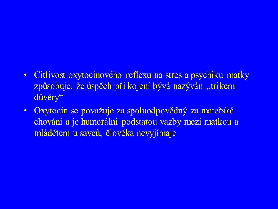 """•Citlivost oxytocinového reflexu na stres a psychiku matky způsobuje, že úspěch při kojení bývá nazýván """"trikem důvěry"""" •Oxytocin se považuje za spolu"""