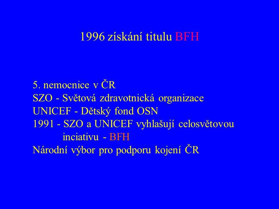 1996 získání titulu BFH 5. nemocnice v ČR SZO - Světová zdravotnická organizace UNICEF - Dětský fond OSN 1991 - SZO a UNICEF vyhlašují celosvětovou in
