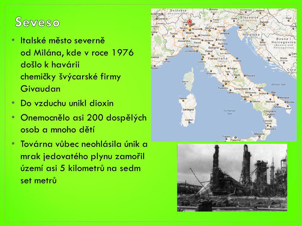 • Italské město severně od Milána, kde v roce 1976 došlo k havárii chemičky švýcarské firmy Givaudan • Do vzduchu unikl dioxin • Onemocnělo asi 200 do