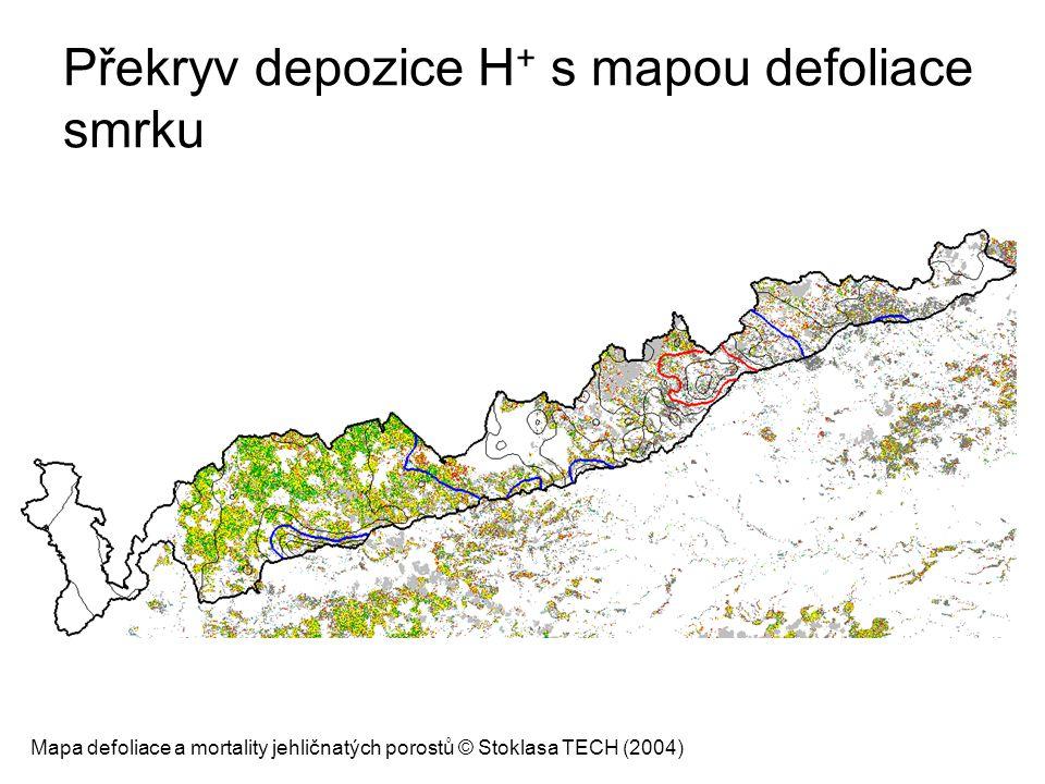 Překryv depozice H + s mapou defoliace smrku Mapa defoliace a mortality jehličnatých porostů © Stoklasa TECH (2004)