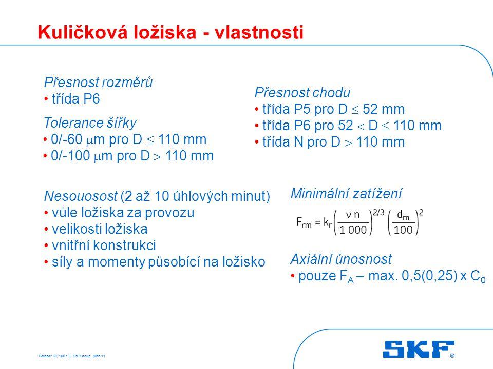 October 30, 2007 © SKF Group Slide 11 Kuličková ložiska - vlastnosti Přesnost chodu • třída P5 pro D  52 mm • třída P6 pro 52  D  110 mm • třída N
