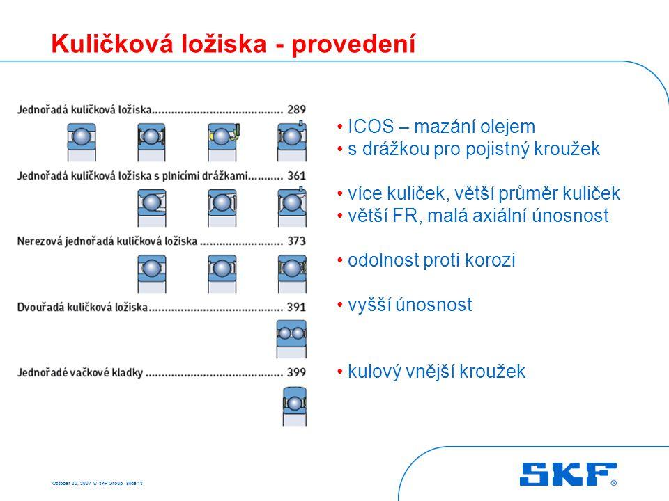 October 30, 2007 © SKF Group Slide 13 Kuličková ložiska - provedení • ICOS – mazání olejem • s drážkou pro pojistný kroužek • více kuliček, větší prům