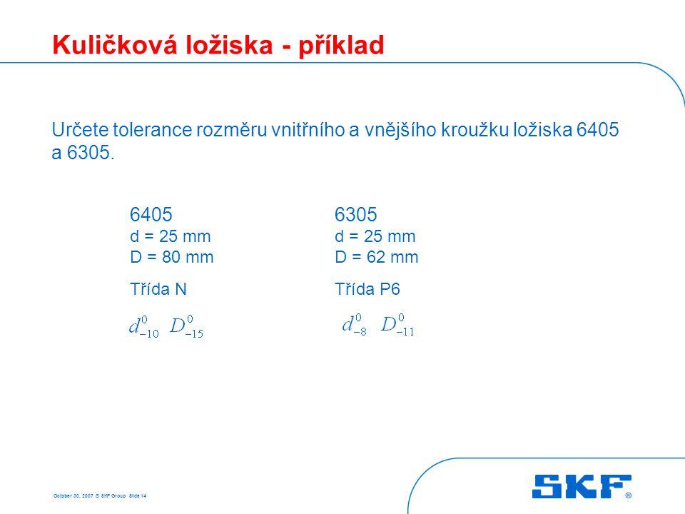 October 30, 2007 © SKF Group Slide 14 Kuličková ložiska - příklad Určete tolerance rozměru vnitřního a vnějšího kroužku ložiska 6405 a 6305. 6405 d =