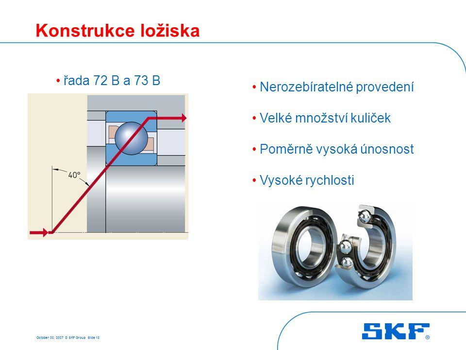 October 30, 2007 © SKF Group Slide 18 Konstrukce ložiska • řada 72 B a 73 B • Nerozebíratelné provedení • Velké množství kuliček • Poměrně vysoká únos