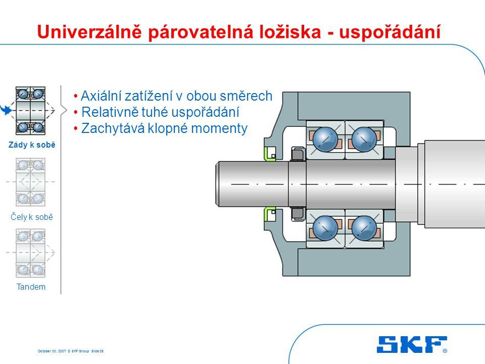 October 30, 2007 © SKF Group Slide 26 Univerzálně párovatelná ložiska - uspořádání • Axiální zatížení v obou směrech • Relativně tuhé uspořádání • Zac