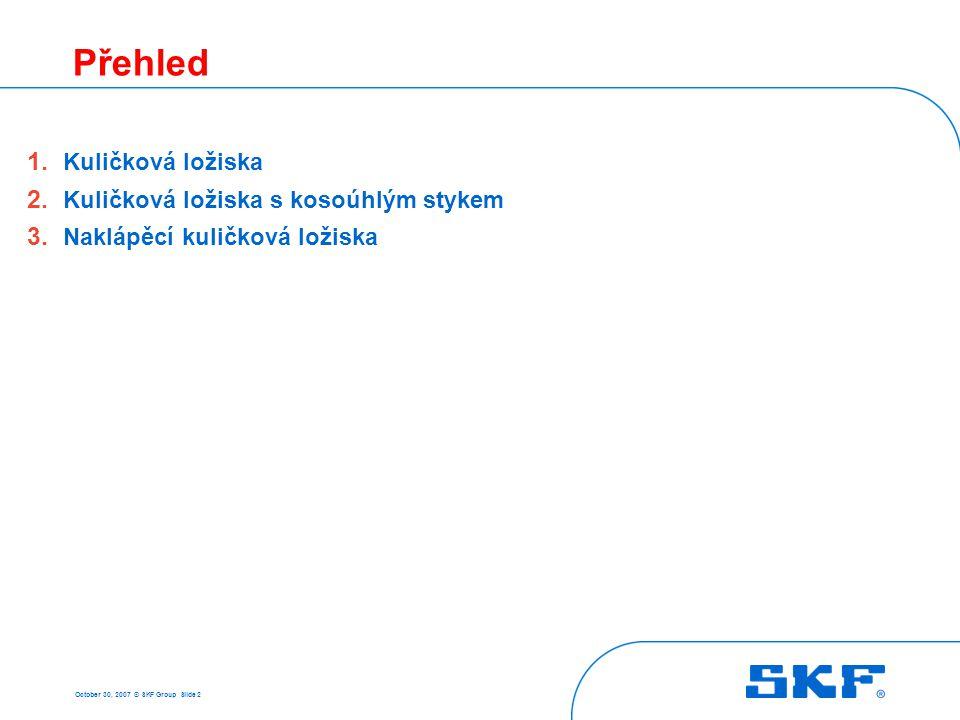October 30, 2007 © SKF Group Slide 2 Přehled 1. Kuličková ložiska 2. Kuličková ložiska s kosoúhlým stykem 3. Naklápěcí kuličková ložiska