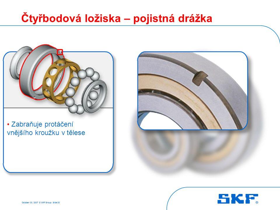 October 30, 2007 © SKF Group Slide 30 Čtyřbodová ložiska – pojistná drážka • Zabraňuje protáčení vnějšího kroužku v tělese