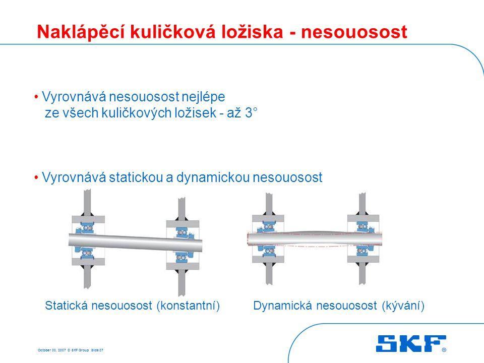 October 30, 2007 © SKF Group Slide 37 Naklápěcí kuličková ložiska - nesouosost • Vyrovnává nesouosost nejlépe ze všech kuličkových ložisek - až 3° • V