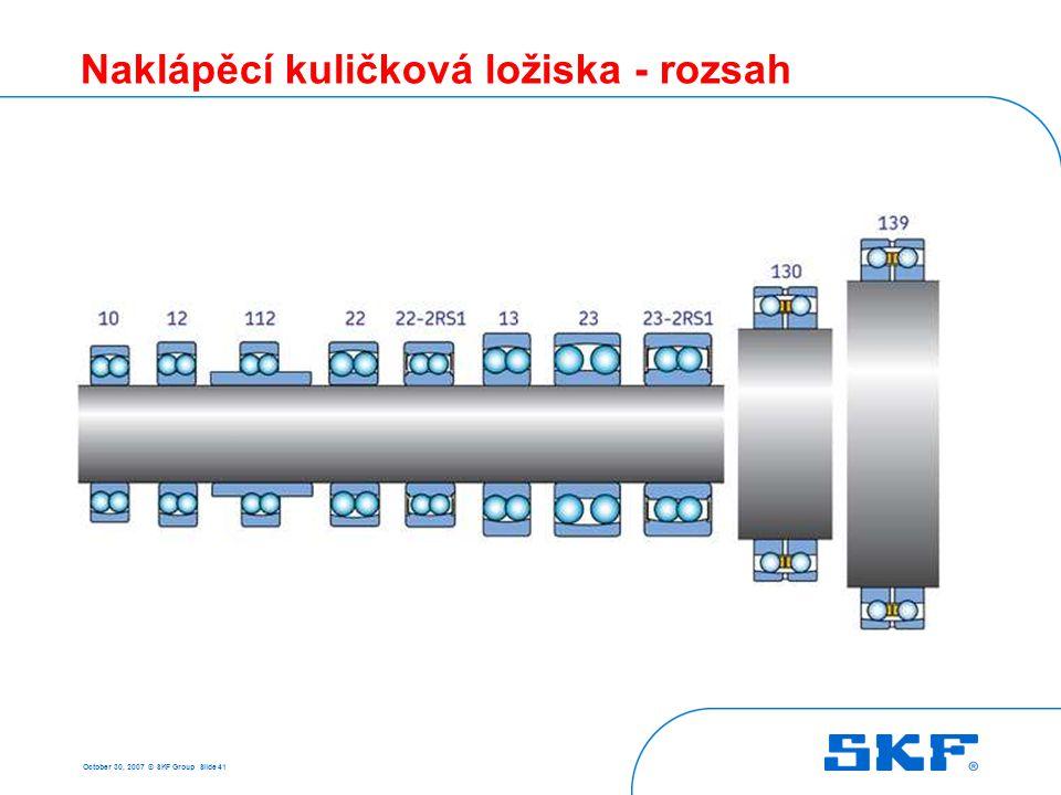 October 30, 2007 © SKF Group Slide 41 Naklápěcí kuličková ložiska - rozsah