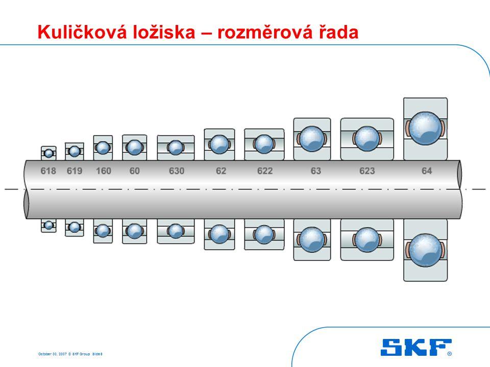 October 30, 2007 © SKF Group Slide 37 Naklápěcí kuličková ložiska - nesouosost • Vyrovnává nesouosost nejlépe ze všech kuličkových ložisek - až 3° • Vyrovnává statickou a dynamickou nesouosost Statická nesouosost (konstantní)Dynamická nesouosost (kývání)