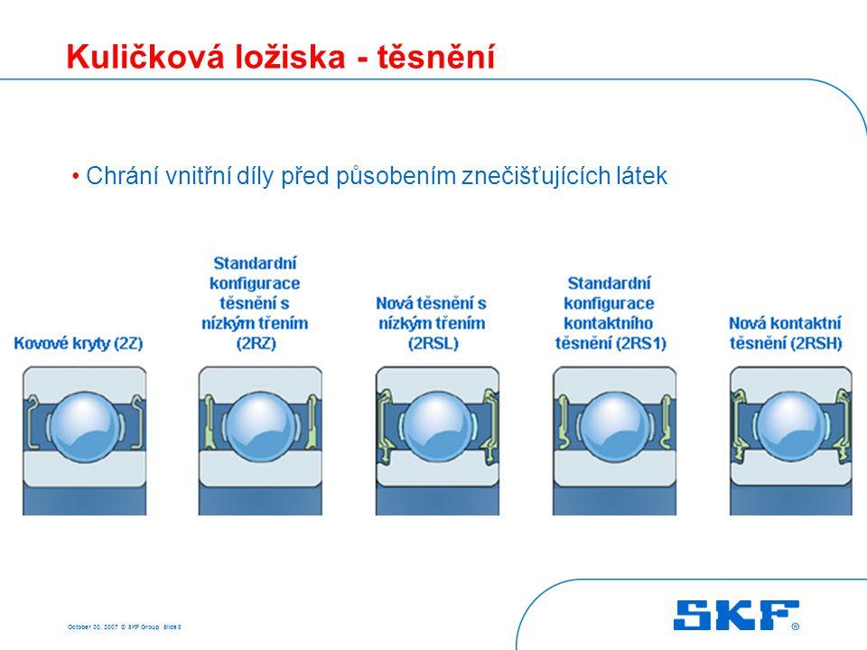 October 30, 2007 © SKF Group Slide 19 Kuličková ložiska s kosoúhlým stykem - klece Masivní mosazná klec (M) Klec z polyamidu 6,6 (P) • Vylepšený kontakt mezi klecí a kuličkami • Vyšší otáčková výkonnost • Menší hluk a vibrace