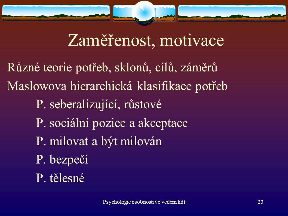 Psychologie osobnosti ve vedení lidí23 Zaměřenost, motivace Různé teorie potřeb, sklonů, cílů, záměrů Maslowova hierarchická klasifikace potřeb P.